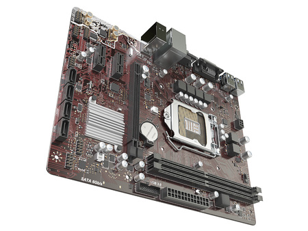Computer motherboard isolated on white background. 3d illustration Stok Fotoğraf