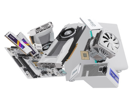 psu: PC hardware components isolated on white. 3d rendering