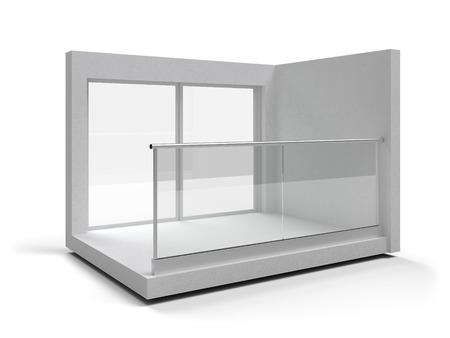 Aluminum frameless glass balustrade isolated. 3d rendering Banque d'images