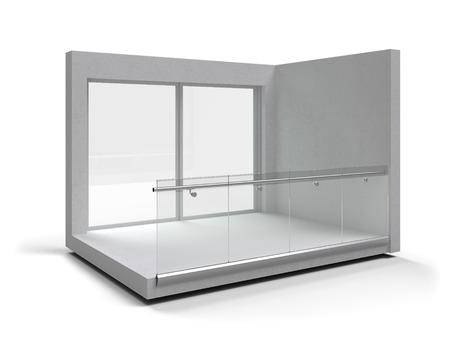 Aluminum frameless glass balustrade isolated. 3d rendering Standard-Bild