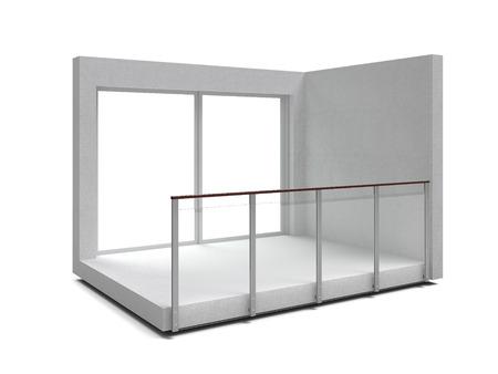 balustrade: Aluminum frameless glass balustrade isolated. 3d rendering Stock Photo