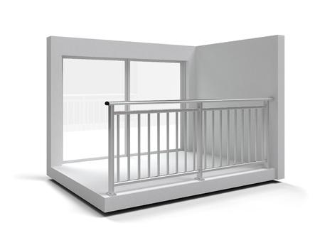 Aluminium frameloze glazen balustrade geïsoleerd. 3D-rendering Stockfoto