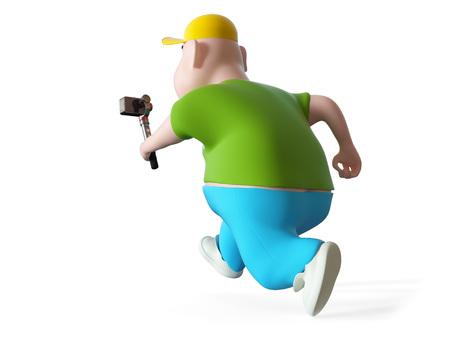 Running Fat boy holding action camera. 3d render Stock Photo