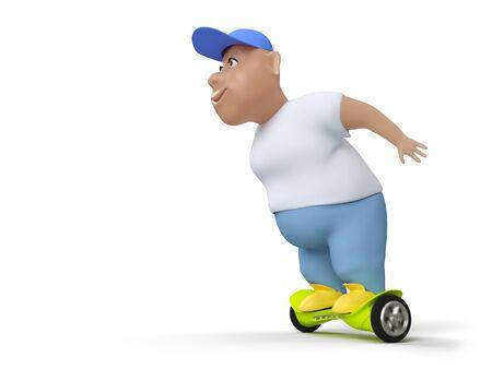 Fat boy on hoverboard. 3d render