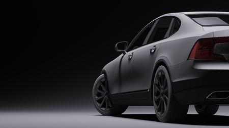 Auto in schwarzem Mattfilm eingewickelt. 3D-Rendering Standard-Bild - 76190886