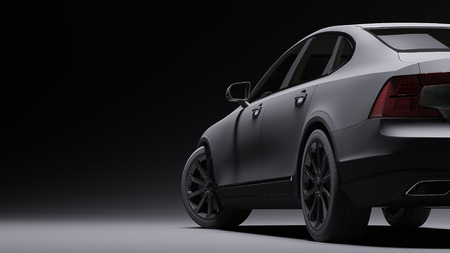 Car wrapped in black matte film. 3d rendering Imagens - 76190886