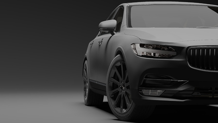 Car wrapped in black matte film. 3d rendering Фото со стока - 76190879