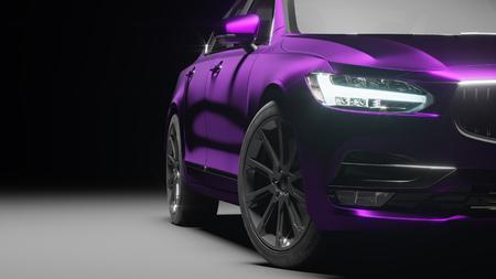 Car wrapped in violet matte chrome film. 3d rendering Reklamní fotografie - 76190880