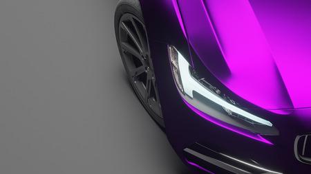 車は、紫のマット クローム フィルムで包まれます。3 d レンダリング