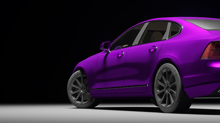 Car wrapped in violet matte chrome film. 3d rendering