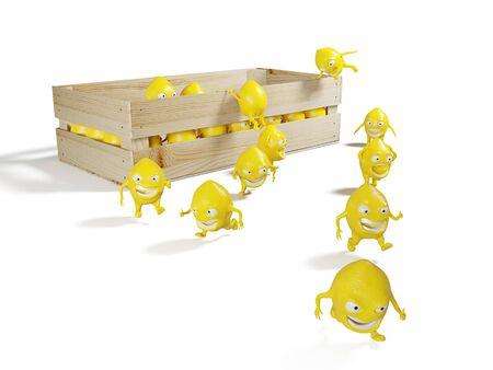Lemon characters escape from wodden box. 3d render