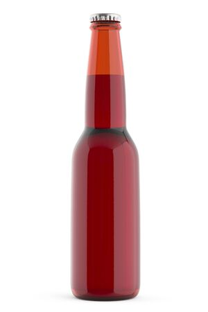 Beer bottle brown no label. 3d render