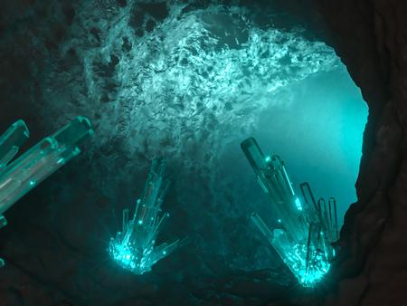 Magic beleuchtete Höhle mit Kristall innen. 3d render