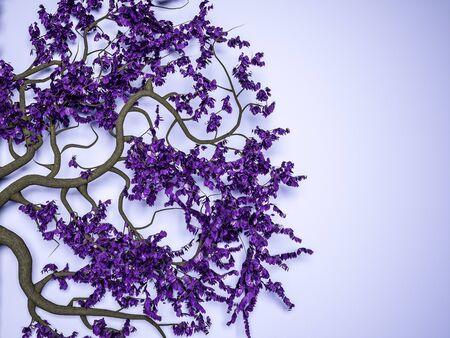 Weird Zweige mit Blatt auf violettem Hintergrund. 3d render