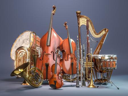회색 배경에 오케스트라 악기입니다. 3D 렌더링