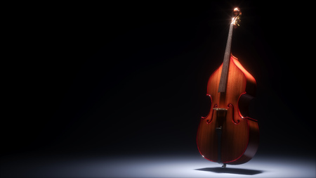 Double bass in dark studio 3D rendering Reklamní fotografie - 77501738