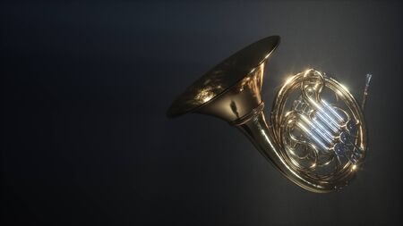 Aged french horn isolated on dark myst background. 3d render Stock Photo