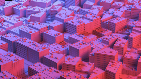 City sacpe in red and blue highlights. 3d rendering