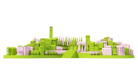 Mini Spielzeug Alte Stadt Konzept rosa und grün isoliert auf weiß, 3d Rendering