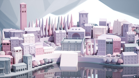 Mini Spielzeug Alte Stadt in der Stadt auf kleine iland, 3d Rendering