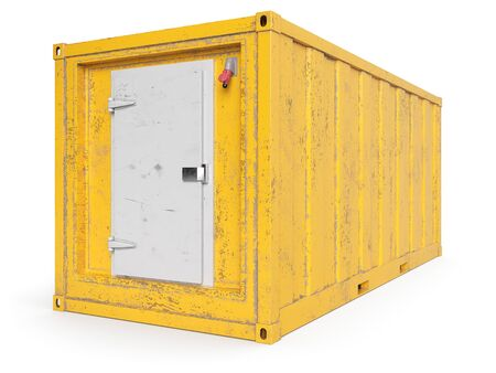 Aged Yellow Kühltasche isoliert auf weiß. 3D-Rendering