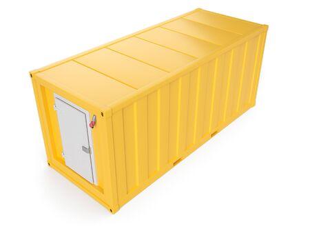 Gelbe Kühltasche isoliert auf weiß. 3D-Rendering Standard-Bild