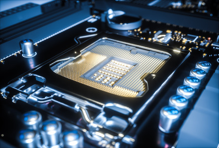 Computer-Motherboard-CPU-Steckdose close up. 3D-Rendering Standard-Bild