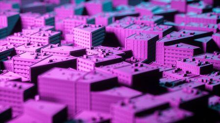 Stadt Sacpe in rot und blau Highlights Kippverschiebung. 3D-Rendering