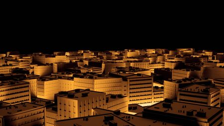 Stadt Sacpe in Gold Highlights Kippverschiebung. 3D-Rendering