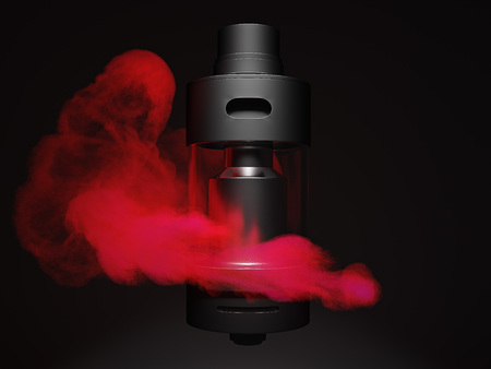 Vaping atomizer with colored redvape. 3d render