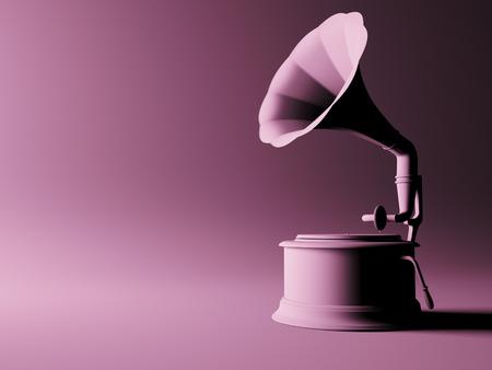 Vintage gramophone on pink background. 3d illustration