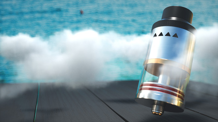 Rebuildable dripping atomizer in vape clouds. 3d render Stock Photo