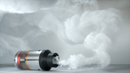 Rebuildable dripping atomizer in vape clouds. 3d render Archivio Fotografico