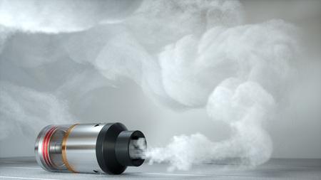 Rebuildable tropfender Zerstäuber in vape Wolken. 3d übertragen Standard-Bild - 81913396