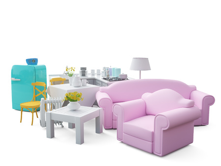 Home appliances and furniture isolated. 3d render Standard-Bild