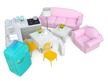 Home appliances and furniture isolated. 3d render Stock Photo