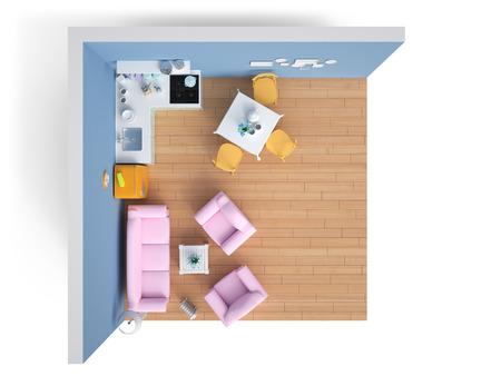 Haushaltsgeräte und Möbel isoliert. 3d render Standard-Bild