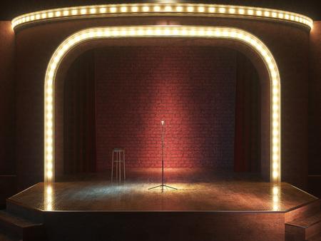 Dunkel leere Bühne mit microphone.3d machen.