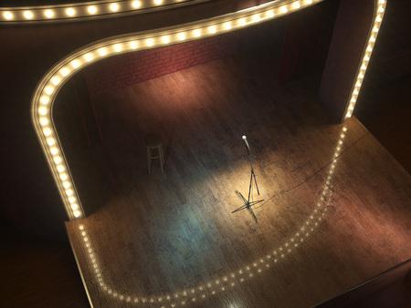 Dark empty stage with microphone. 3d render Standard-Bild