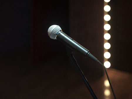 Dark empty stage with microphone. 3d render Archivio Fotografico