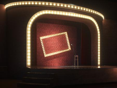 Dunkel leere Bühne mit Mikrofon. 3d render
