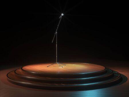 Runde Dunkel leere Bühne und Mikrofon. 3d render Standard-Bild