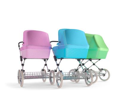 Vintage design baby stroller. 3d render Stock Photo