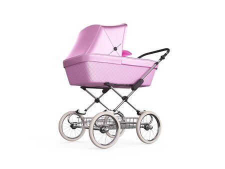 Vintager rosa Farbenentwurfs-Baby-Spaziergänger. 3d render