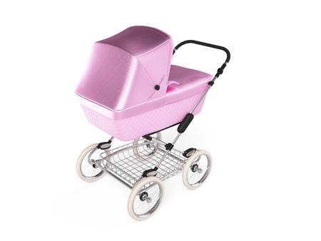 comfortable: Vintage pink color design baby stroller. 3d render
