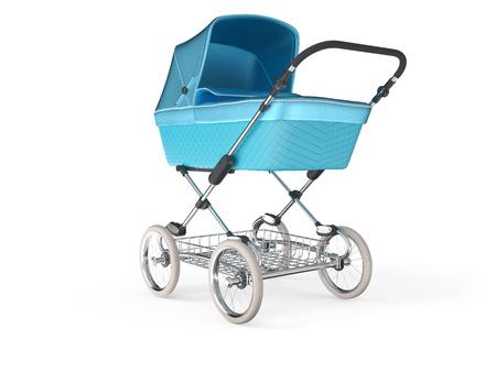Vintage blaue Farbe Design Baby Kinderwagen. 3d render Standard-Bild