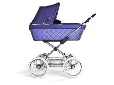 Vintage violet color design baby stroller. 3d render Stock Photo