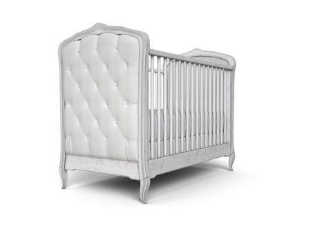 Baby cot woodden vintage design isolated on white. 3d render