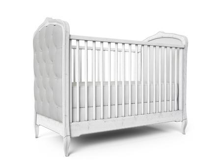 Baby cot woodden Jahrgang Design isoliert auf weiß. 3d render