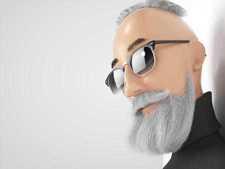Old Hipster guy with beard stylized cartoon 3d character. 3d rendering Stock Photo